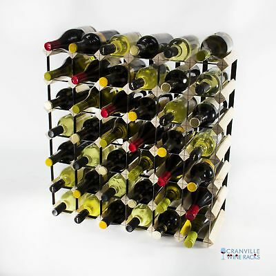 Cranville 42 bottle pine wood and black metal wine rack ready to use