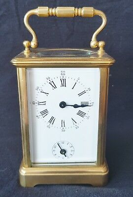 Carriage Alarm Clock Brass Complete With Fully Working Alarm & Key