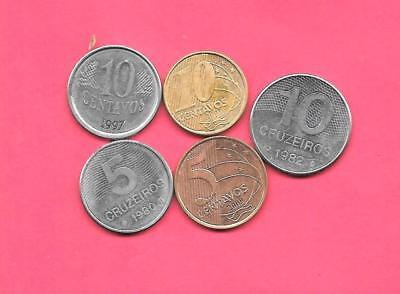 Brazil 5 Diff Different 1980-2009 Coin Lot Collection Set Old-Modern