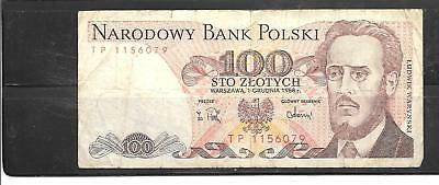 POLAND #143b 1976 VG CIRC OLD 100 ZLOTYCH BANKNOTE PAPER MONEY CURRENCY NOTE
