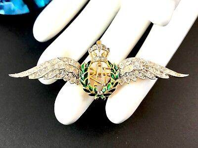 Rare Meaningful Trifari Wwii U.k. Raf Royal Air Force Rhinestone Sweetheart Pin