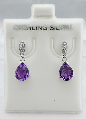 GENUINE 2.25 Cts AMETHYST & DIAMOND EARRING .925 Sterling Silver *** Brand New