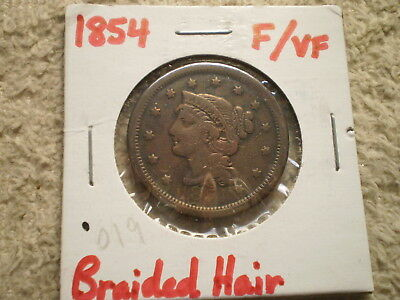 1854 Braided Hair Large Cent/ Good Buy