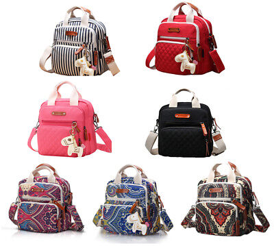 Quality Canvas Multi-function Tote Messenger Backpack Baby Diaper Bag Nappy Bag