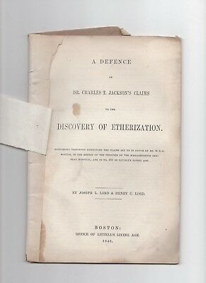 1848 Defense of Dr Jackson's Claim of Using Ether for Surgery Patients
