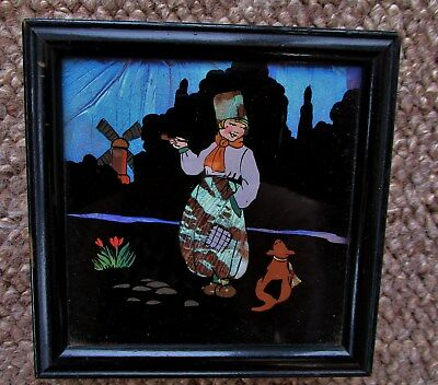 Beautiful Antique / Art Deco Butterfly Wing Dutchman & Dog Picture