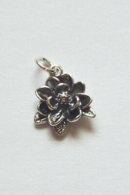 .925 Sterling Silver Southern Magnolia Flower Charm Gift Boxed