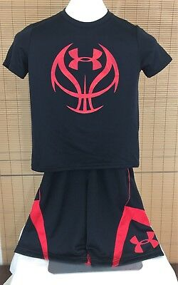 UNDER ARMOUR Lot 2 Boys Small EZ Mon-Knee Shorts, Basketball Graphic Shirt Black