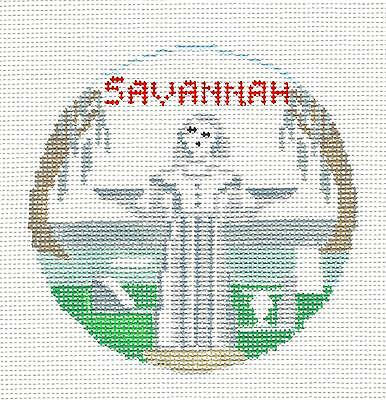 SAVANNAH, GEORGIA handpainted Needlepoint Canvas Ornament by Kathy Schenkel RD.