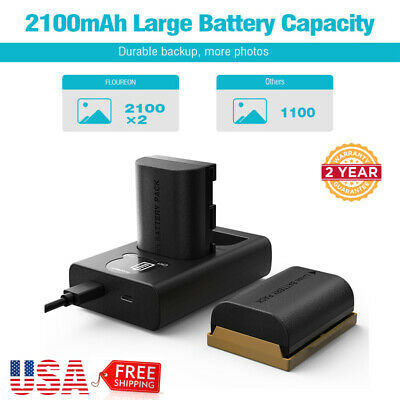 2x LP-E6 7.4V 2100mAh Batteries + Dual Charger For Canon 5D Mark II III IV 5Ds