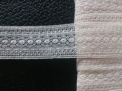 Antique Fine Cotton Lace Tulle Insertion Dress Trim Lingerie Craft Crafting Art