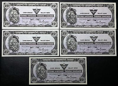 Collection of 5x 1989 Canadian Tire Money 25 Cents Notes - Unicrculated