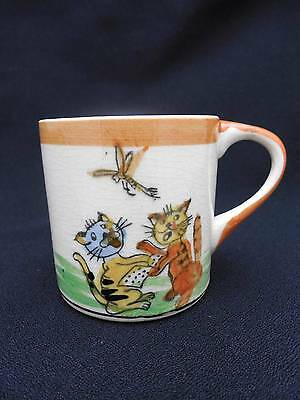 Vintage Child's Cup or Mug w Handpainted Cats Reading A Book & Dragonfly