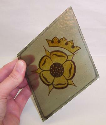 Reclaimed PAINTED & FIRED Stained Glass PANEL Diamond ROSE & CROWN Design