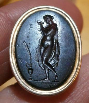 Fine Georgian Grand Tour Fob Seal Glass Intaglio Classical Naked Lady With Bowl