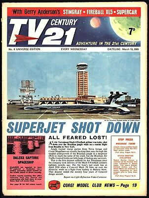 Tv Century 21 #8 Stingray Fireball Xl5 The Daleks - Very Nice Flat + White Pages