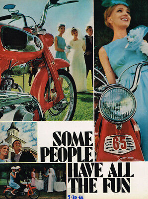 """1966 Honda 65 """"some People Have All The Fun""""  Vintage Original Laminated Ad Art"""