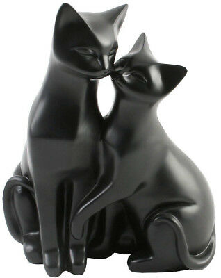 PAIR OF BLACK CATS ORNAMENT STYLIZED CAT FIGURINE - Ideal Gift For Cat Lovers