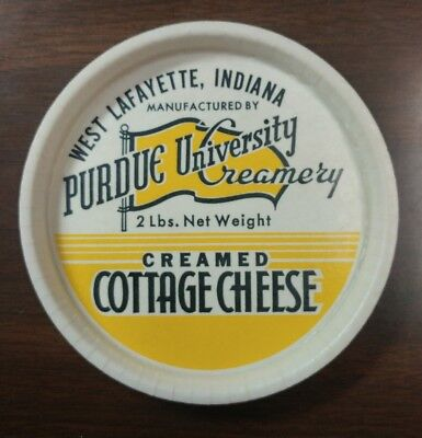 Vintage Purdue University Creamery Creamed Cottage Cheese 2lb Container Lid