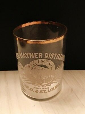1900 Hayner Distilling Co, Dayton, Ohio & St Louis Acid Etched Thin Walled Glass