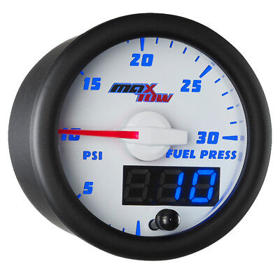 52mm White & Blue MaxTow Double Vision 30 PSI Fuel Pressure Gauge - MT-WBDV11_30