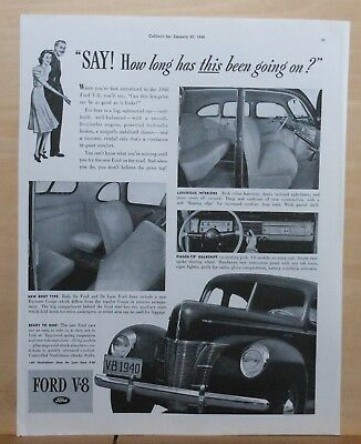 1940  magazine ad for Ford V-8 - photos of interior, instrument panel, grille