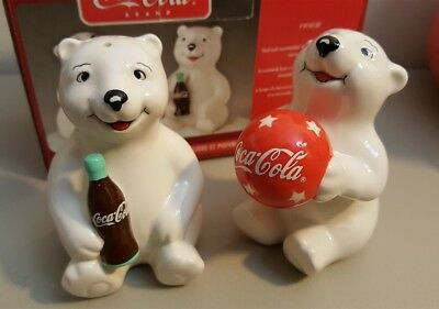 Coca Cola Coke Cub Polar Bear Playtime Cubs Salt & Pepper Shakers NIB by Gibson