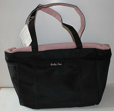 Baby Sac Diaper Tote Bag Nursery Black Pink Microfiber New