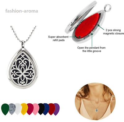 316L Steel Perfume Aroma Essential Oil Drop Shaped Diffuser Necklace Pendant
