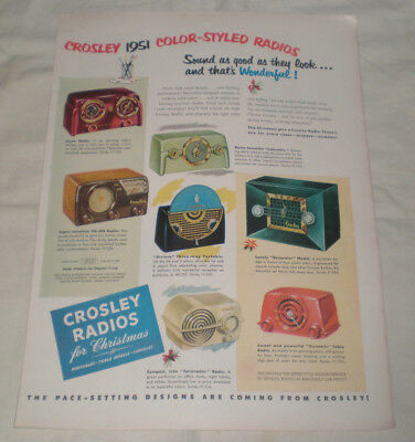 1950 CROSLEY RADIO Print Ad-1951 COLOR STYLED RADIOS-SOUNDS AS GOOD AS THEY LOOK