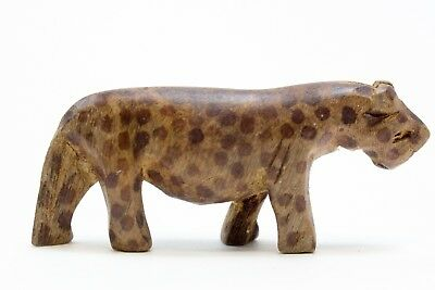 Vintage Hand Carved & Stained Wooden African Leopard Cheetah Safari Small