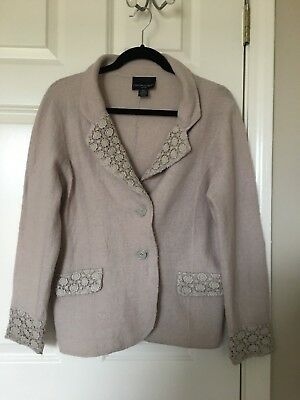 Cynthia Rowley 100% Wool Blazer/jacket Size Pm Color Very Very Pale Pink/purple