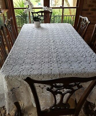 Vintage 1970s White Medallion Hand Made Crochet Lace Tablecloth Never Used 228cm