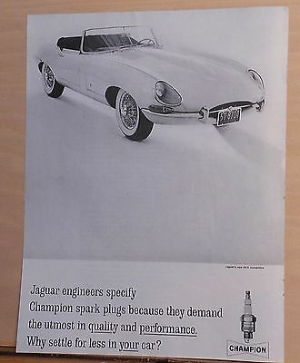 1961 magazine ad for Champion Spark Plugs - used by Jaguar XX-E convertible