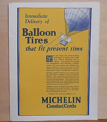 1925 magazine ad for Michelin Tires - Michelin men at play in hot air balloon