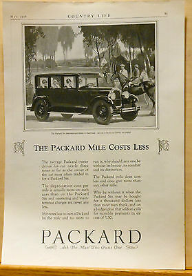 1926 magazine ad for Packard Six Sedan - horses, riders, Packard mile costs less
