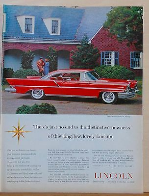 Vintage 1957 magazine ad for Lincoln - Premiere 2-door hardtop photo, long & low