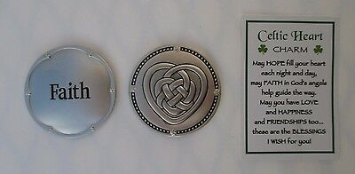 s 1x Faith CELTIC HEART IRISH CHARM POCKET TOKEN Ganz carry for good luck