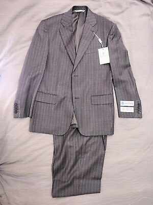 New Giorgio Sanetti Classic Fit Grey Pin Striped Two Button Wool Suit 36S / 30W