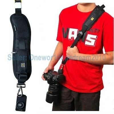 New Quick Rapid Camera Single Shoulder Sling Black Belt Strap for SLR DSLR