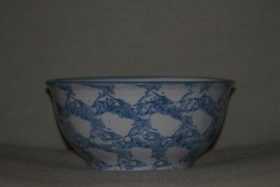 "Antique Early 1900's Blue Salt Glaze Spongeware ""Heart"" Batter Mixing Bowl"