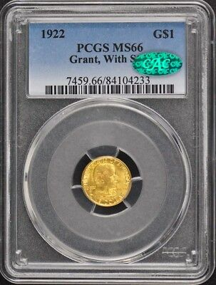 GRANT, WITH STAR 1922 G$1 Gold Commemorative PCGS MS66 (CAC)