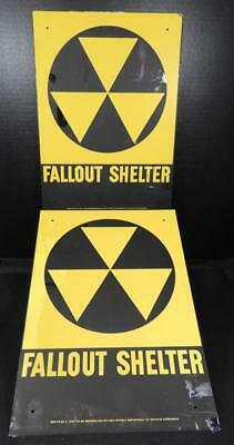 """Two Vintage Metal """"Fall Out Shelter"""" Signs"""