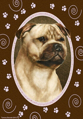 Large Indoor/Outdoor Paws Flag - Fawn Staffordshire Bull Terrier 17245