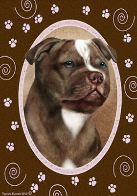 Large Indoor/Outdoor Paws Flag - Choc. & White Staffordshire Bull Terrier 17244
