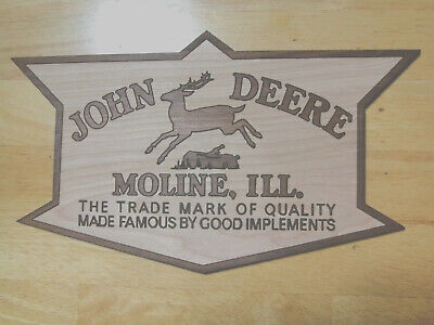 John Deere Quality Implements Vintage Style Wood Sign Farm Cave equipment Moline