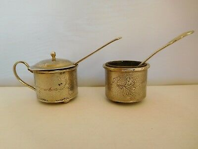 Very Pretty Antique Solid Silver Chinese Export Mustard & Salt Pot - Hung Chong