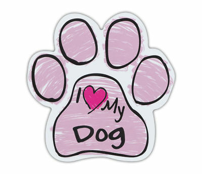 I Love My Dog Pink Scribble Paw Magnet  Car Refrigerator Rescue Dog