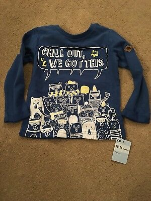 Mothercare Long Sleeve Blue T-shirt Age 18-24 Months New BNWT