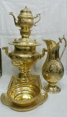 Rare Old Persian Armenian Gold Plated Brass Samovar Set With Portraits .